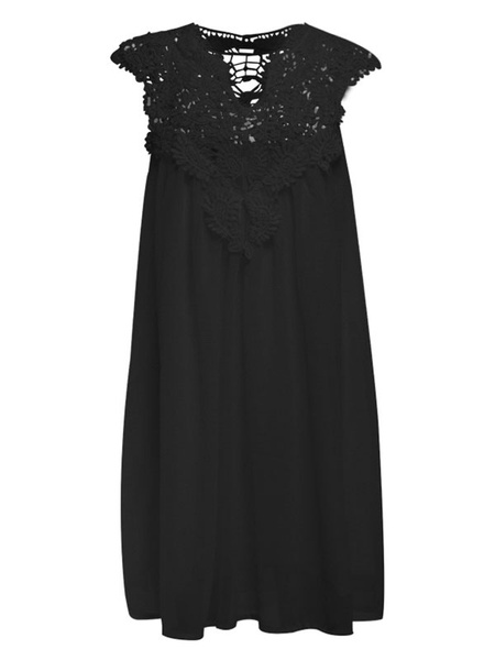Milanoo White Summer Dresses Lace V Neck Chiffon Short Sleeves Pleated Shift Dress For Women Sundress