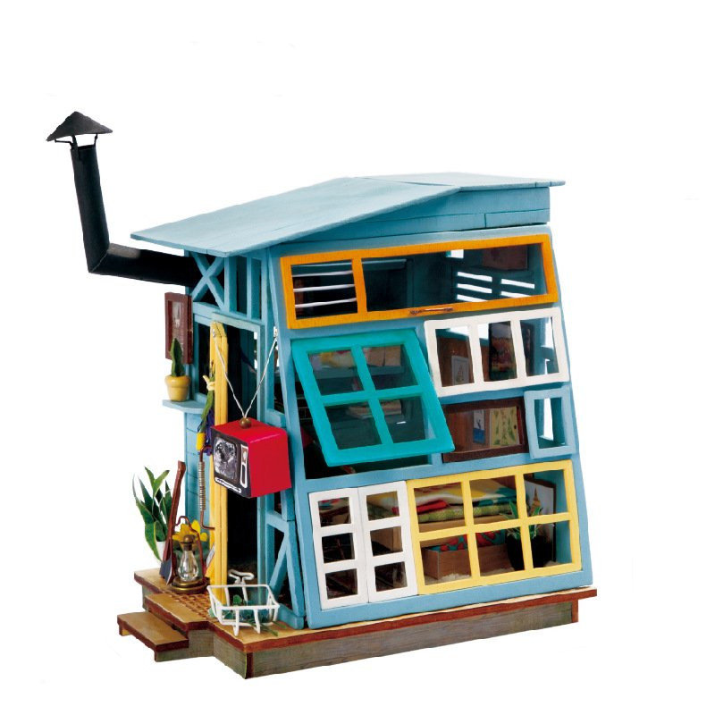 DIY Doll House Miniature Vintage Wooden Dollhouse With Furniture Decor Craft Gift