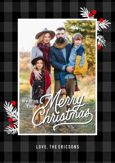 Christmas Photo Cards 5x7 Cards, Premium Cardstock 120lb, Card & Stationery -Mistletoe & Plaid Christmas Photo Card by Hallmark