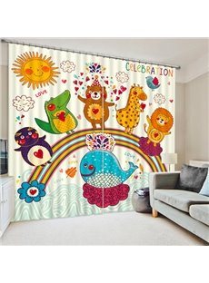 3D Cute Cartoon Animals with Rainbow Printed Decorative and Blackout Curtain