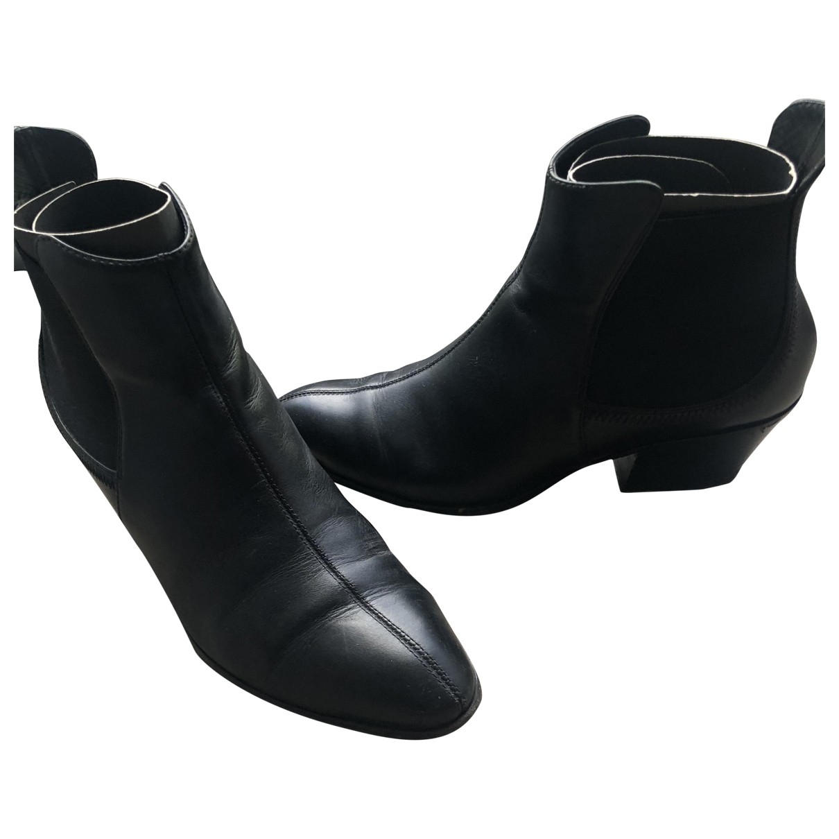 Giuseppe Zanotti \N Black Leather Ankle boots for Women 37 EU