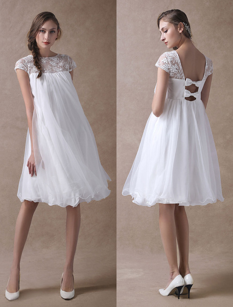 Milanoo Simple Wedding Dresses Short Empire Waist Lace Tulle Cap Sleeve Pregnant Bridal Dress