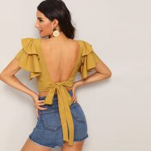Tiered Layered Tie Open Back Crop Blouse