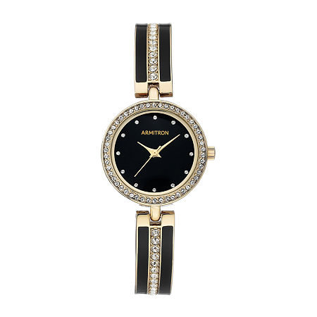 Armitron Womens Crystal Accent Gold Tone Bracelet Watch-75/5608bkgp, One Size , No Color Family