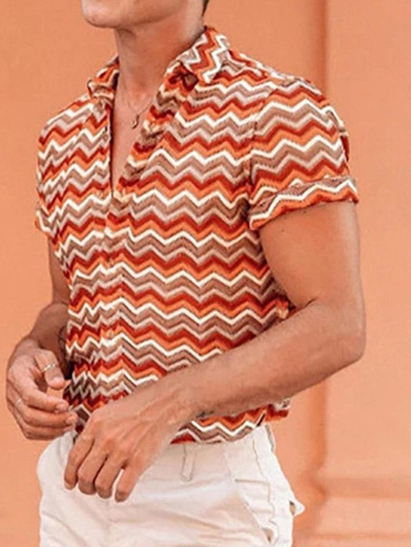 Ericdress Stripe Lapel Print Loose Shirt