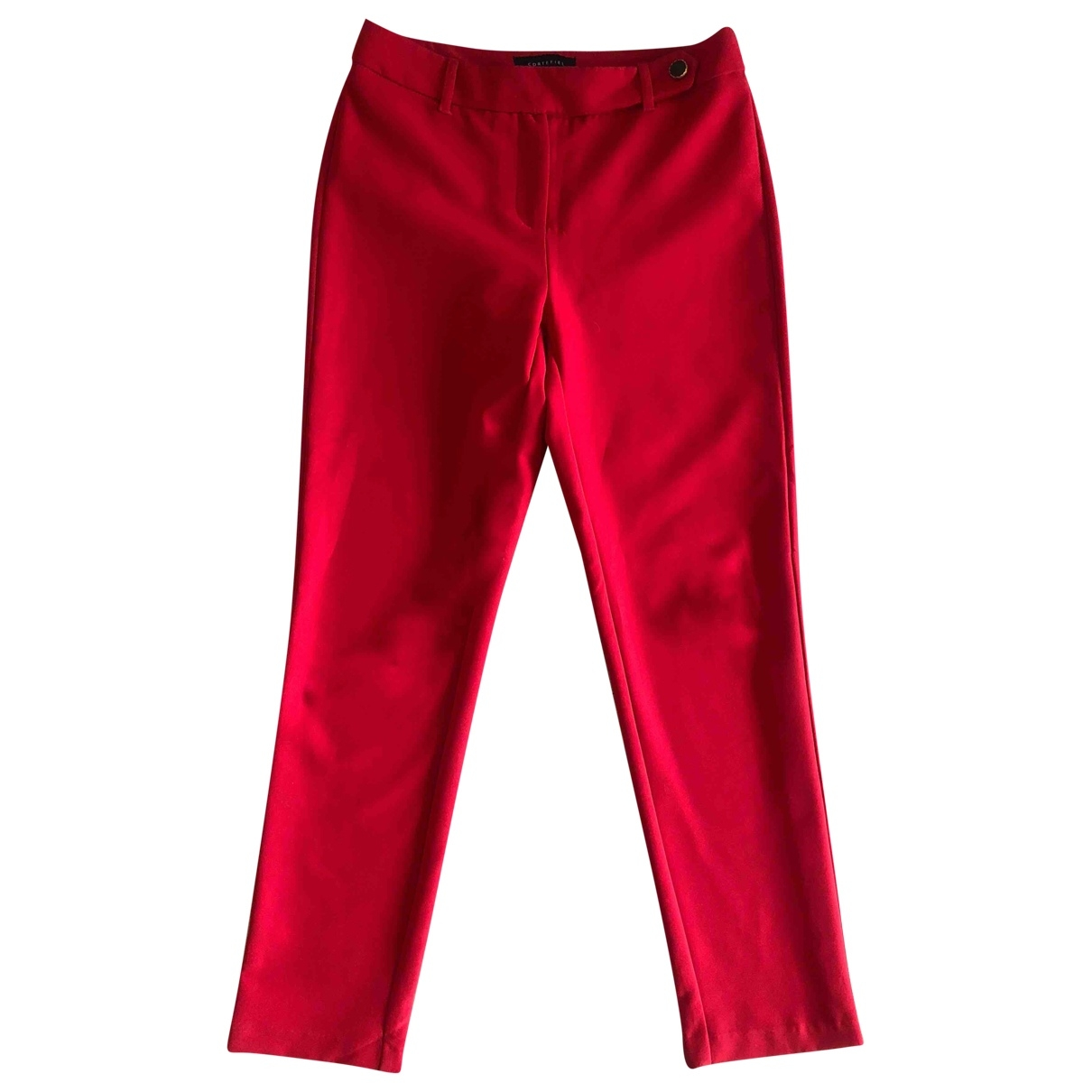 Non Signé / Unsigned \N Red Trousers for Women 36 FR