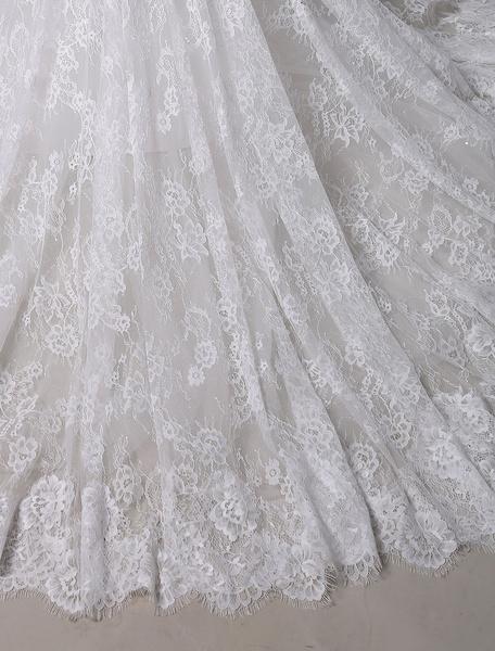 Milanoo 2020 Lace Sheath Wedding Dress V-back And Chapel Train