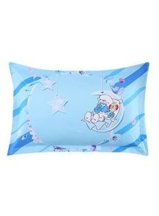 Baby Smurf with Moon Stars Printed One Piece Light Blue Bed Pillowcase