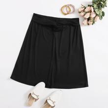 Plus Twist Front Rib-knit Skirt