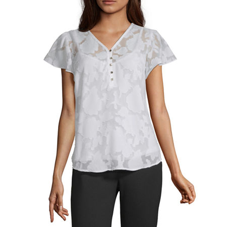 Liz Claiborne Womens V Neck Short Sleeve Blouse, Xx-large , White
