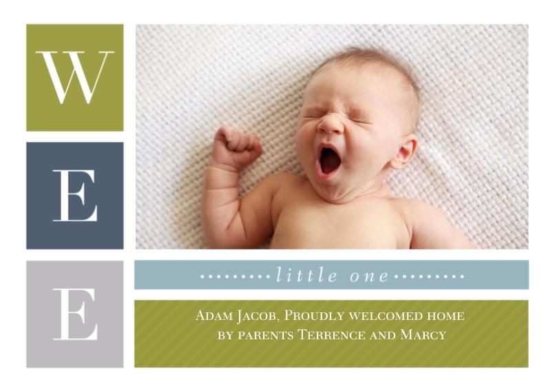 Newborn 5x7 Cards, Premium Cardstock 120lb, Card & Stationery -Small Surprise - Boy