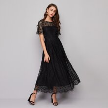 Tie Back Solid Lace Dress