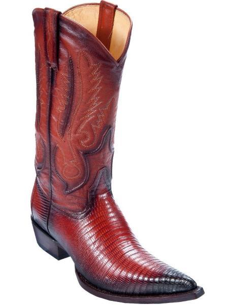 Men's Faded Cognac Los Altos Genuine Teju Lizard Boots Cowboy Heel