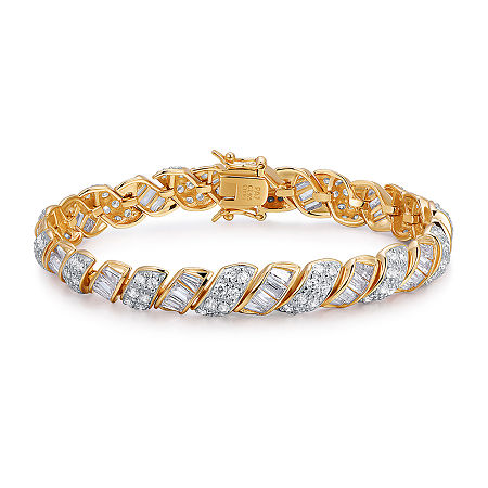 18K Gold Over Sterling Silver Cubic Zirconia 7-8