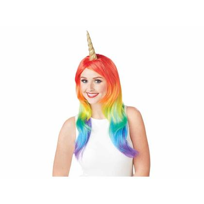Perruque de cheveux longs en corne de licorne avec Licorne Magic Little, perruque de costume
