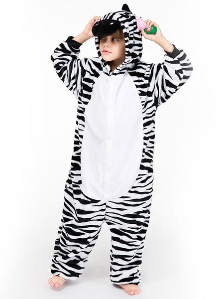 Milanoo Zebra Kigurumi Pajamas Onesie Kid Flannel Easy Toilet Winter Sleepwear Mascot Animal Halloween Costume