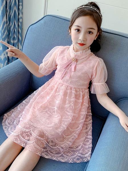 Milanoo Girls Dress Polyester Short Sleeves Pink Kids\'s Summer Dress
