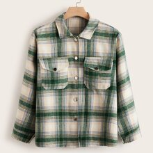 Plus Button Front Double Pocket Plaid Shacket