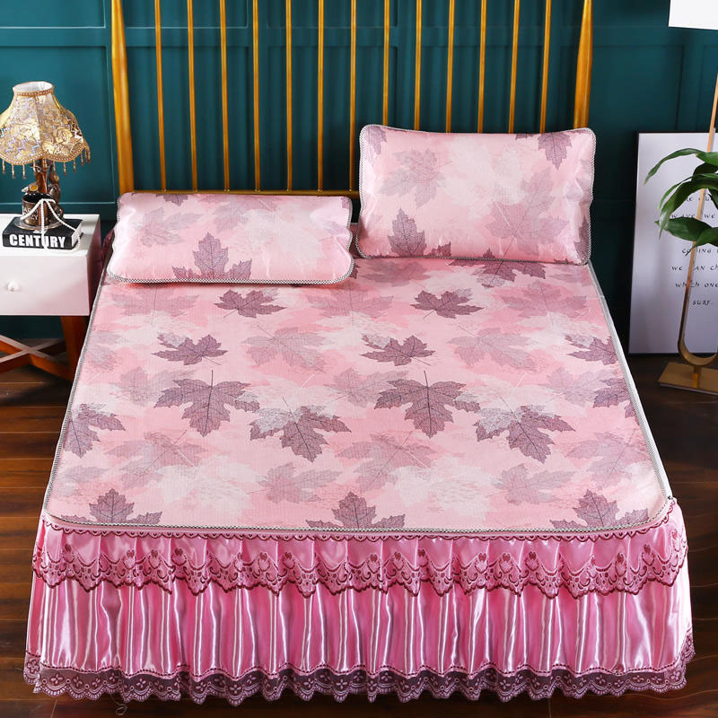 Jacquard Summer Sleeping Mat Set 3-Piece Maple Leaf Pattern Cool Bed Skirts Set with 2 Pillowcases