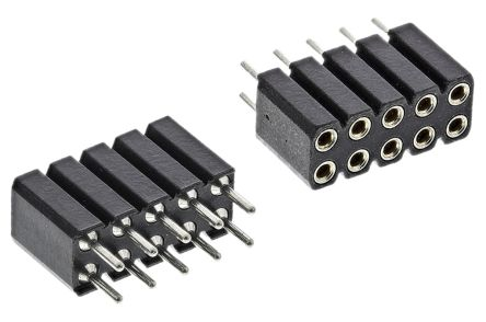 Preci-Dip , 803 2.54mm Pitch 10 Way 2 Row Straight PCB Socket, PCB Mount, Solder Termination (5)