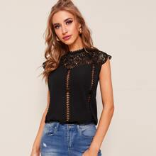Hollow Out Guipure Lace Panel Blouse