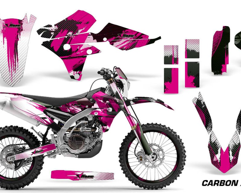 AMR Racing Graphics MX-NP-YAM-WR250F-15-18-WR450F-16-18-CX P Kit Decal Wrap + # Plates For Yamaha WR250F 2015-2018 WR450F 2016-2018áCARBONX PINK