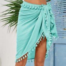 Tassel Trim Knot Waist Beach Blanket