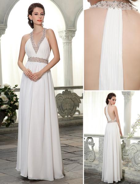 Milanoo Floor-Length Sheath V-Neck Beading Chiffon Ivory Bridal Wedding Dress