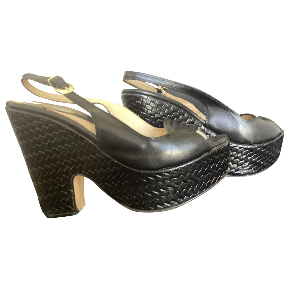 Emporio Armani \N Black Leather Sandals for Women 37 EU