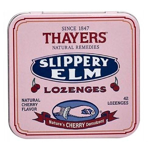 Slippery Elm Lozenges Cherry, 42 loz by Thayers