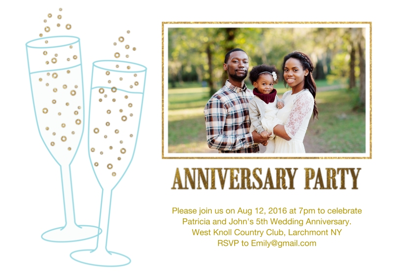 Anniversary 5x7 Cards, Premium Cardstock 120lb with Elegant Corners, Card & Stationery -Anniversary Party Champagne Glasses