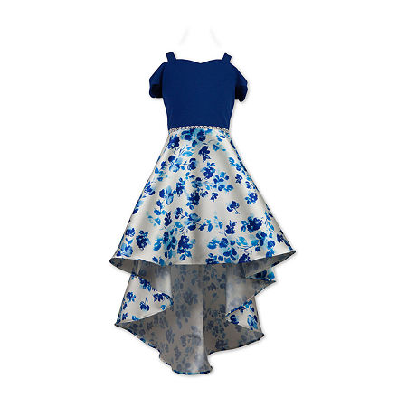 Speechless Big Girls Embellished Short Sleeve Cold Shoulder Sleeve High-Low Party Dress, 14 , Blue