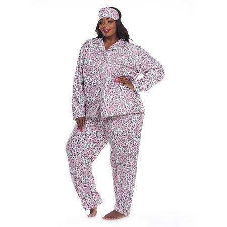 White Mark Womens-Plus Pant Pajama Set 3-pc. Long Sleeve, 2x , Gray