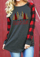 Merry Christmas Trees Plaid Leopard Printed T-Shirt Tee - Gray