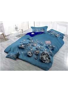 Shining Diamond Wear-resistant Breathable High Quality 60s Cotton 4-Piece 3D Bedding Sets