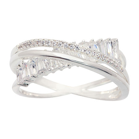 Sparkle Allure Cubic Zirconia Pure Silver Over Brass Crossover Cocktail Ring, 8 , No Color Family
