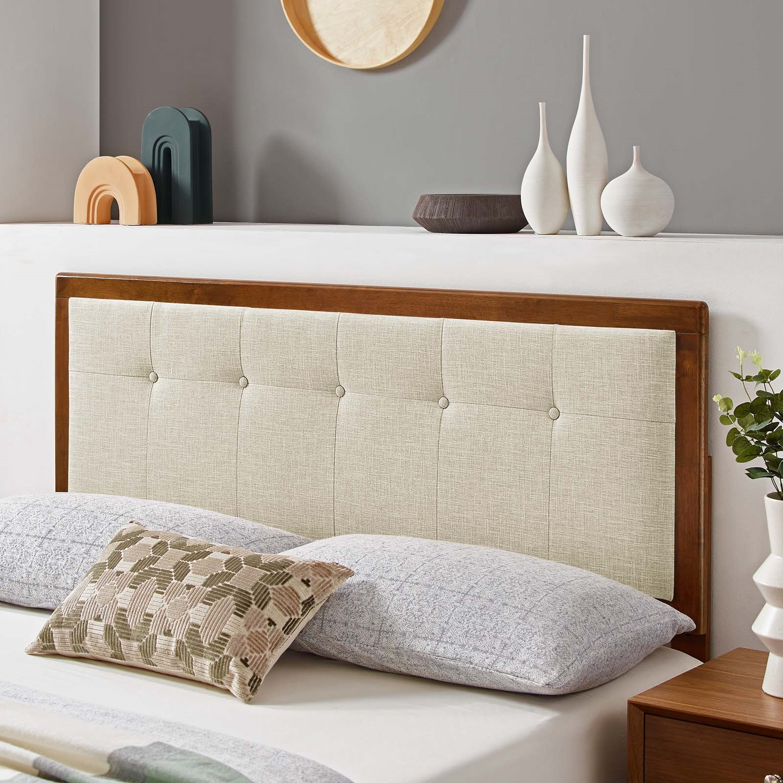 Draper Tufted Twin Fabric and Wood Headboard in Walnut Beige