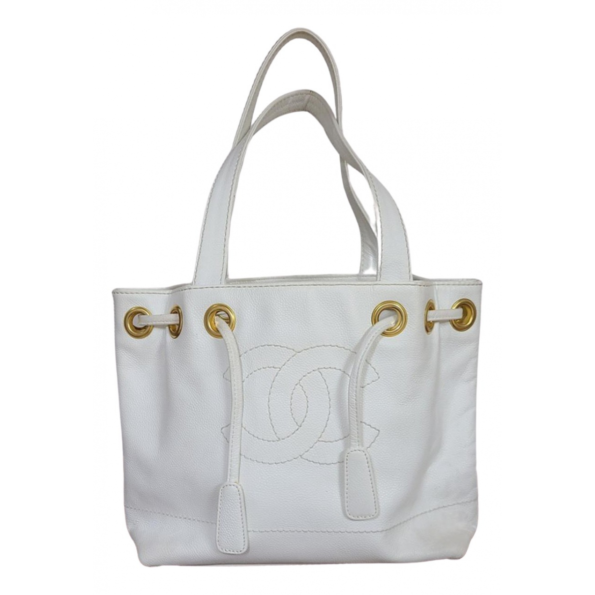Chanel Petite Shopping Tote White Leather handbag for Women \N