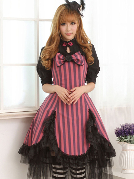 Milanoo Rose Red Lace Portrait Neck Short Sleeves Lolita One-Piece