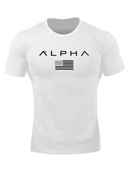Milanoo Camisetas Hombre Cuello joya Palabras Imprimir Manga corta Camisetas