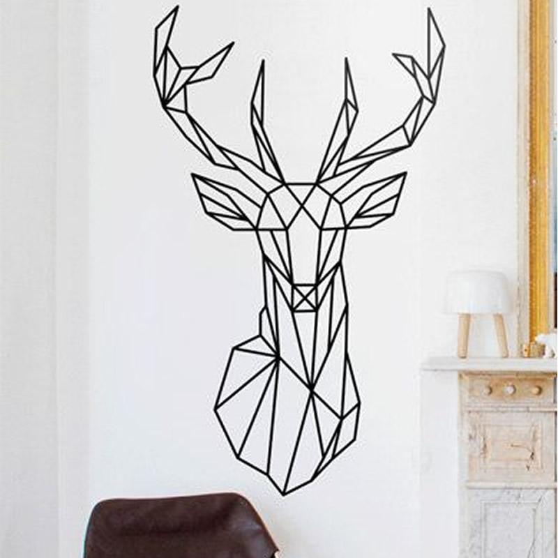 Geometric Deer Head Wall Sticker Modern Home Decor Vinyl Wall Art