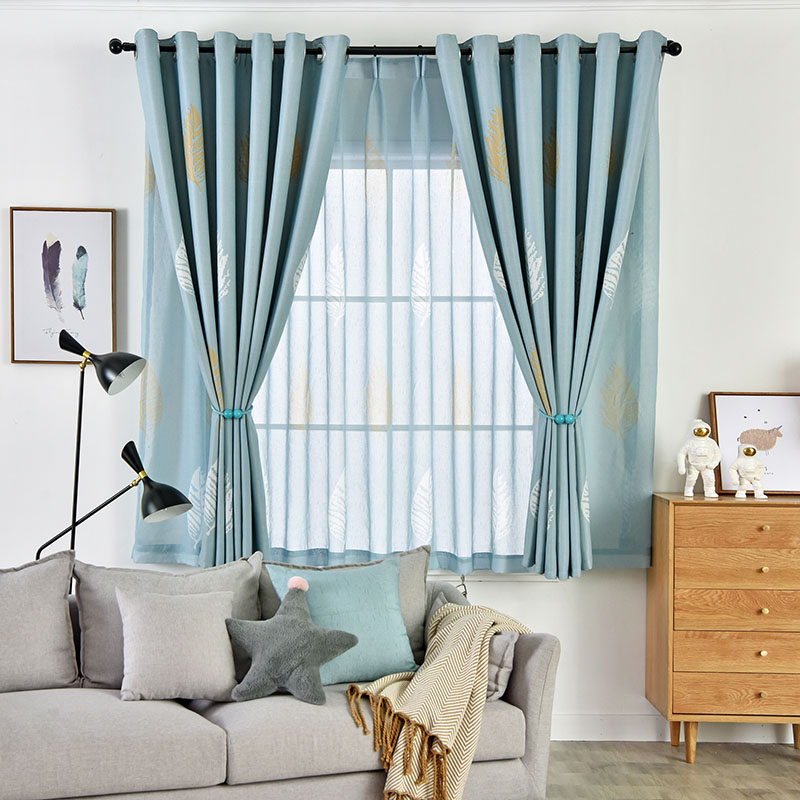 Modern and Simple Style Feather Printed Cloth and Voile Sewing Together 2 Panels Blackout Curtains