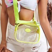 Clear Neon Lime Crossbody Bag