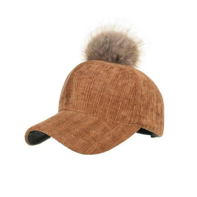 Men Women Corduroy Baseball Caps With Hair Ball Accessories