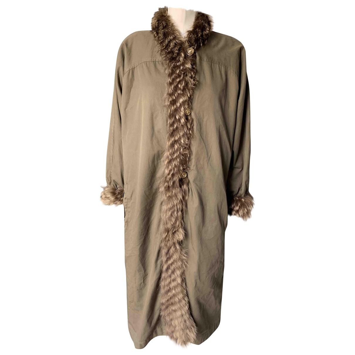 Yves Saint Laurent \N Khaki Fur coat for Women 38 FR