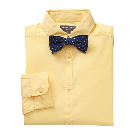 Van Heusen Flex Little & Big Boys Point Collar Long Sleeve Shirt + Tie Set, X-large (18-20) , Yellow