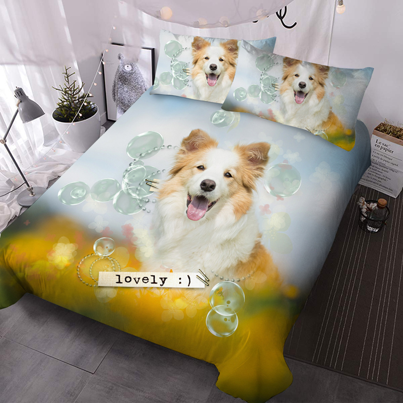 3D Yellow Dogs 3-Piece Lightweight Warm Comforter Sets No-fading Digital Printed Comforter for All Seasons