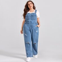 Plus Patch Pocket Ripped Denim Overalls