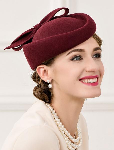 Milanoo Retro Costume Hat Wool Women's Burgundy Bowknot Elegant Bowler Hat Halloween