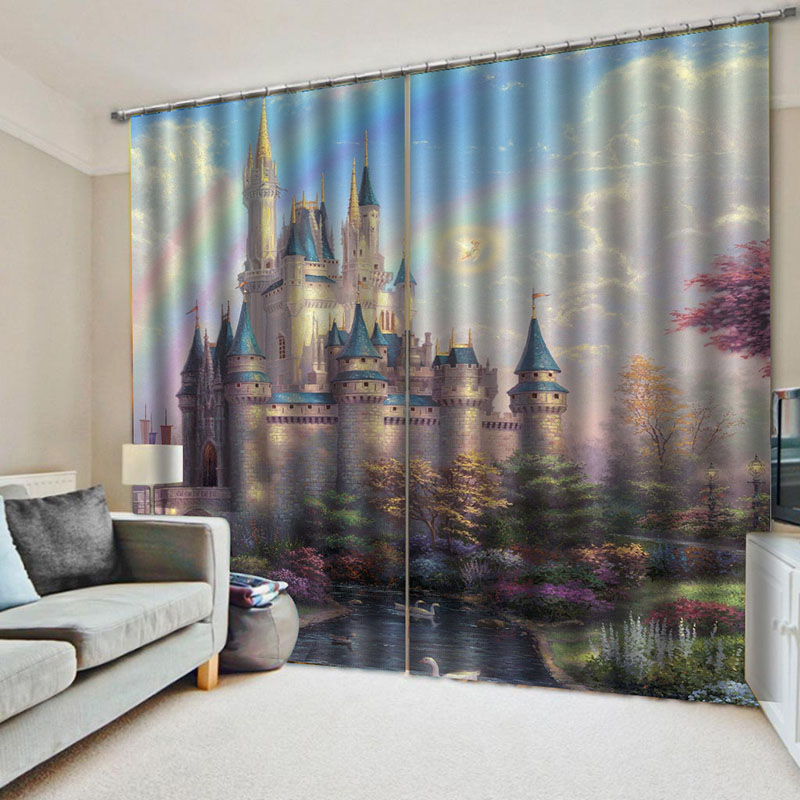 Blackout 3D Castle Print Blackout Polyester Curtains No Pilling No Fading No off-lining 80W 84L Inches